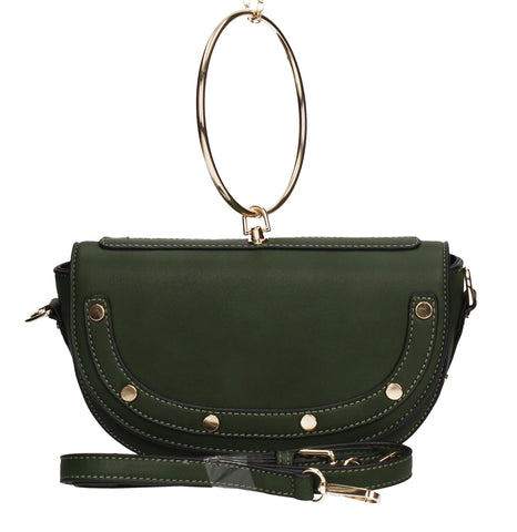 SWANKYSWANS Lulu Ring Handle Clutch Bag Crocodile Green Cute Cheap Clutch Bag For Weddings School and Work