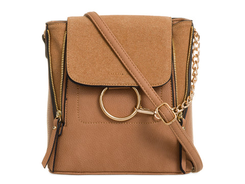 Arabella Ring Faux Suede 2 in 1 Crossbody Backpack Bag Tan Brown