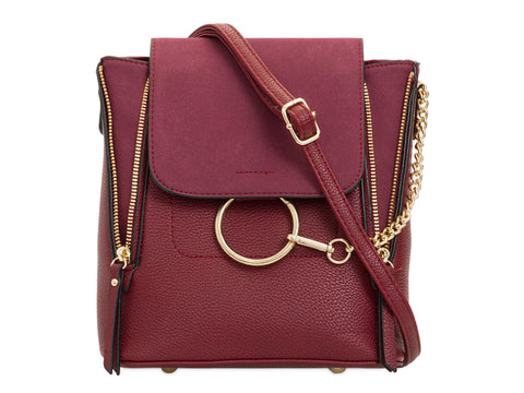 Arabella Ring Faux Suede 2 in 1 Crossbody Backpack Bag Burgundy