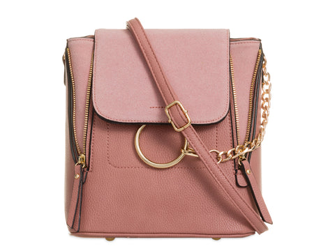 Arabella Ring Faux Suede 2 in 1 Crossbody Backpack Bag Pink