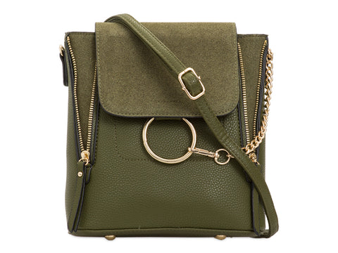 Arabella Ring Faux Suede 2 in 1 Crossbody Backpack Bag Olive Green