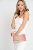 Christina Two Tone Flapover Clutch Bag Pink