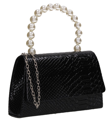 Grace Faux Pearl Croc Effect Clutch Bag Black