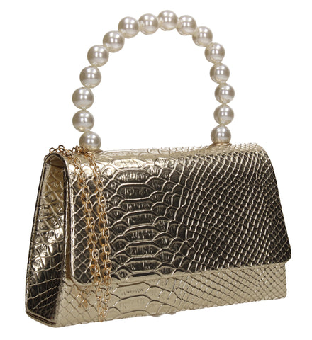 Grace Faux Pearl Croc Effect Clutch Bag Gold