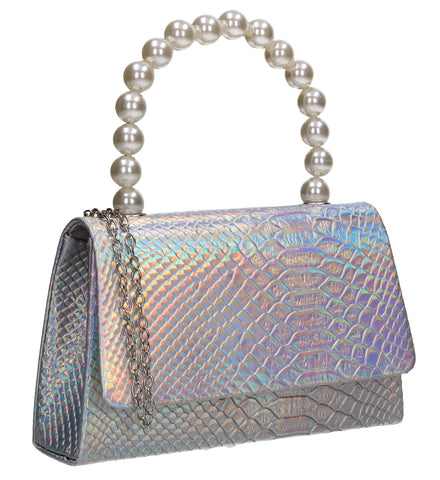 Grace Faux Pearl Croc Effect Clutch Bag Mulitcolour