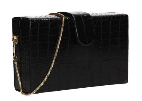 Hailey Box Shape Croc Effect Clutch Bag Black