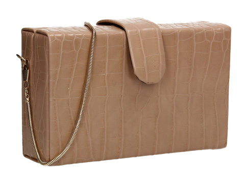 Hailey Box Shape Croc Effect Clutch Bag Beige