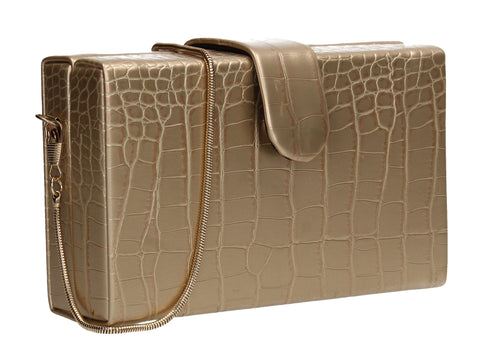 Hailey Box Shape Croc Effect Clutch Bag Gold