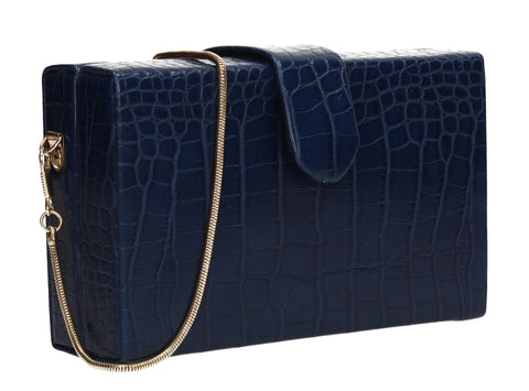 Hailey Box Shape Croc Effect Clutch Bag Navy Blue