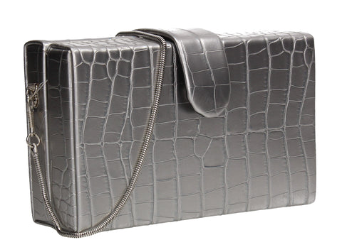 Hailey Box Shape Croc Effect Clutch Bag Silver