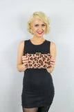 Lina Leopard Print Clutch Bag Brown