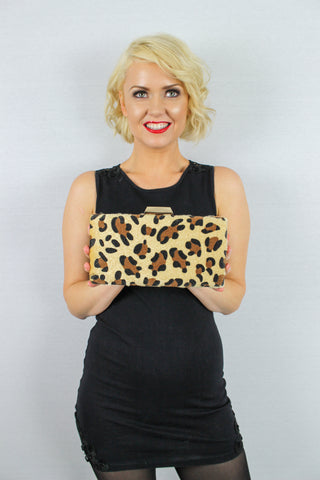 Lina Leopard Print Clutch Bag Light Brown