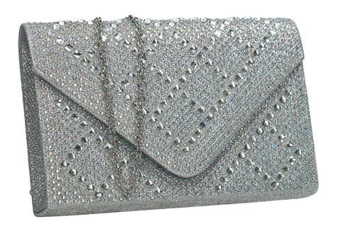 SWANKYSWANS Bethany Diamante Clutch Bag Silver Cute Cheap Clutch Bag For Weddings School and Work