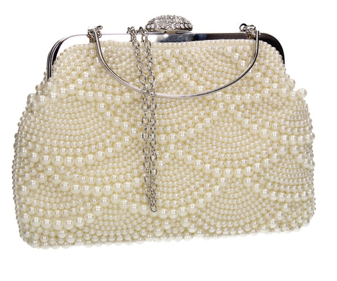 Hailee Faux Pearl Detail Clutch Bag Beige