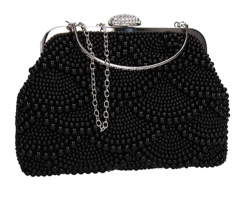 Hailee Faux Pearl Detail Clutch Bag Black