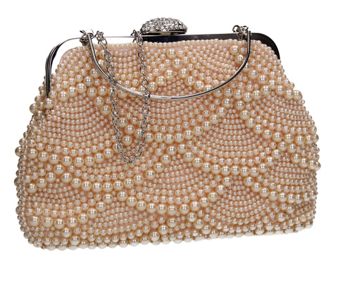 Hailee Faux Pearl Detail Clutch Bag Champagne