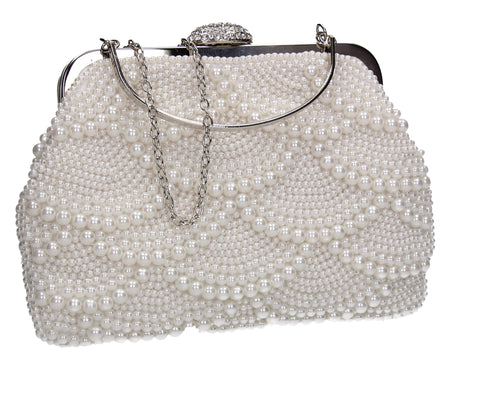 Hailee Faux Pearl Detail Clutch Bag White