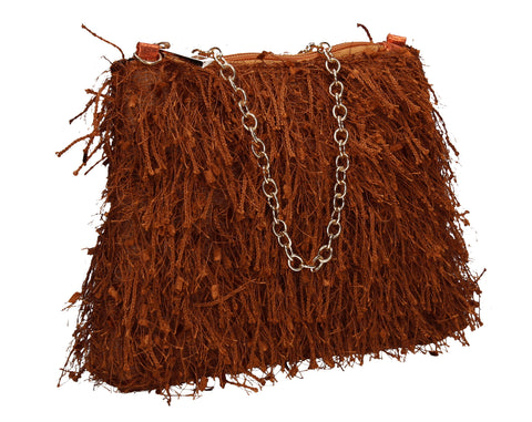 Alaina Thread Tassle Zip Clutch Bag Tan