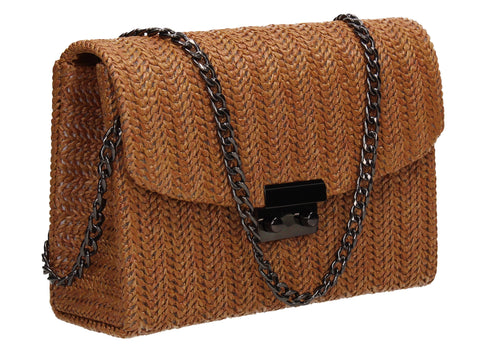 Lottie Woven Effect Crossbody Clutch Bag Tan Brown