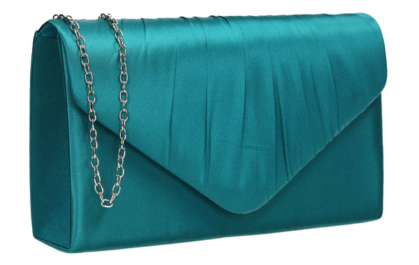 Chantel Beautiful Satin Envelope Clutch Bag Teal