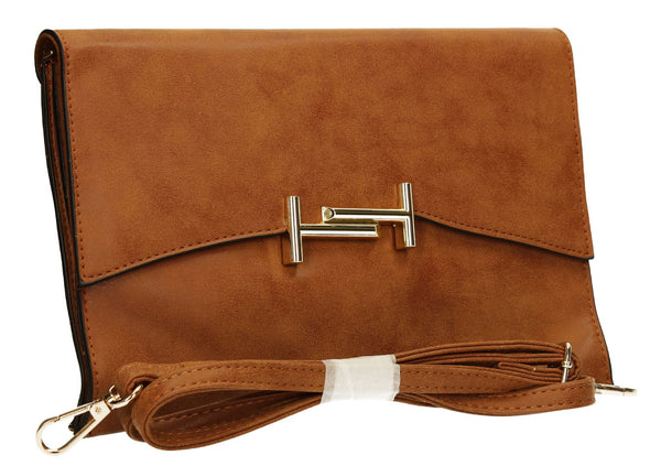 SwankySwans Tony Clutch Bag Tan Brown Clutch Bag Flapover Formal Faux Leather