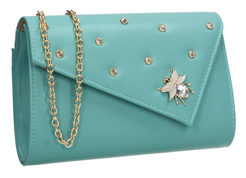 SWANKYSWANS Nylah Clutch Bag Turquoise Cute Cheap Clutch Bag For Weddings School and Work