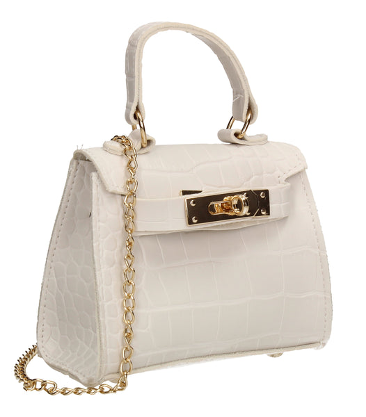 Layla Faux Leather Croc Mini Grab Crossbody Evening Bag White