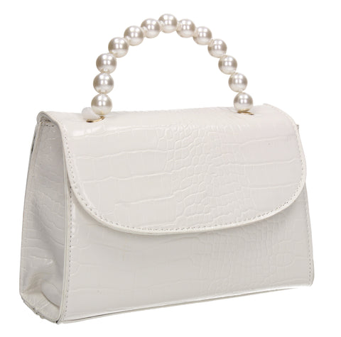 Jadyn Faux Leather Croc Effect Acrylic Handle Crossbody White