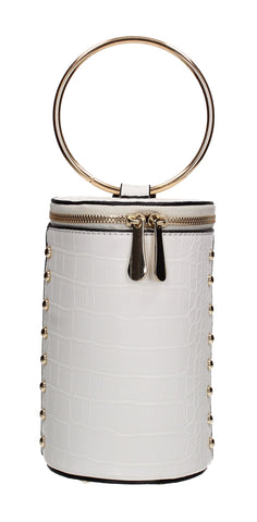 Brenda Faux Leather Party Bucket Cylinder Bag White