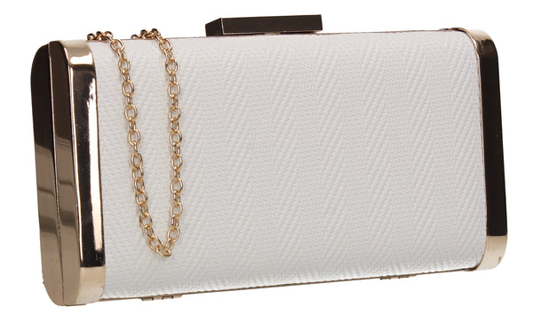 Maxine Faux Leather Box Shape Clutch Bag White