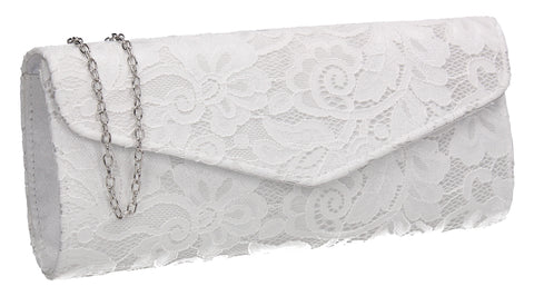 Lucie Lace Effect Envelope Clutch Bag White
