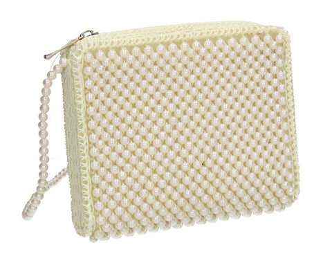 Evelyn Faux Pearl Beaded Crossbody Bag White