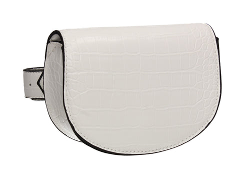 Aminah Faux Leather Snakeskin effect Belt Bag White