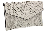 Kendra Laser Cut Detail Clutch Bag White