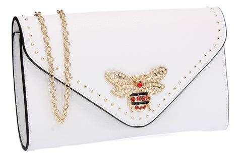 SWANKYSWANS Shannon Clutch Bag White Cute Cheap Clutch Bag For Weddings School and Work
