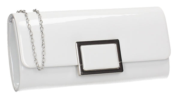 Katelyn Flapover Patent Clutch Bag White