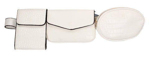 Sonia 3 Piece Faux Leather Utility Belt bag White