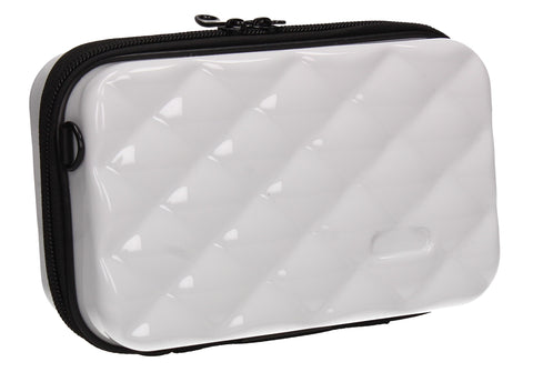 Natalia Acrylic Shell Compact Box Crossbody Bag White