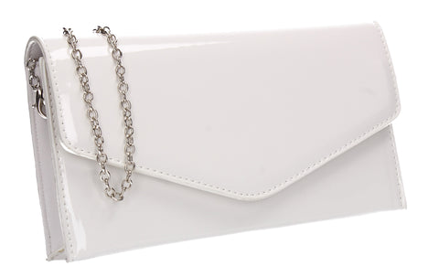 Evie Plain Patent Envelope Clutch Bag White
