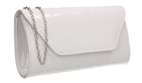 Erin Croc Effect Clutch Bag White