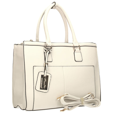 Naples Cosmo City Work Bag - White-Handbags-SWANKYSWANS