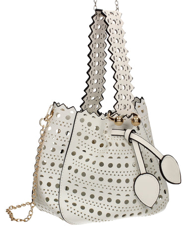 Tegan Laser Cut Detail Bucket Grab Bag White