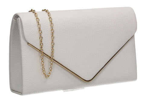 Erica Envelope Clutch Bag White