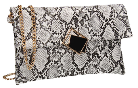 Callie Faux Leather Animal Print Elegant Clutch Bag White