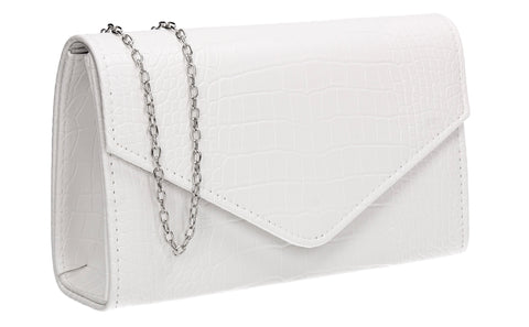 Emily Croc Effect Clutch Bag White