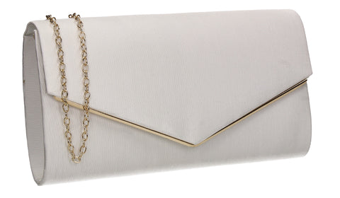 Alison Satin Envelope Clutch Bag White