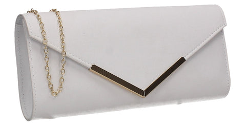 Leona Envelope Faux Suede Clutch Bag White