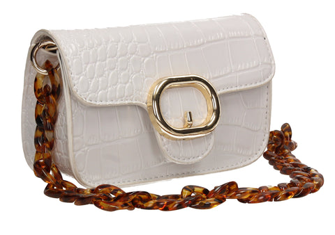 Robyn Croc Effect Crossbody Clutch Bag White