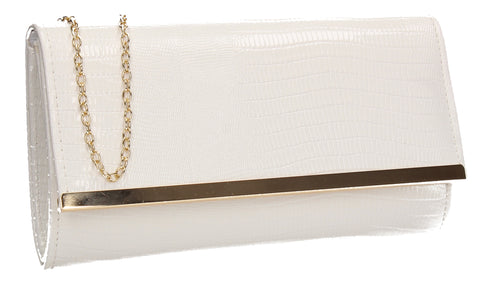 Ronai Flapover Faux Leather Clutch Bag White