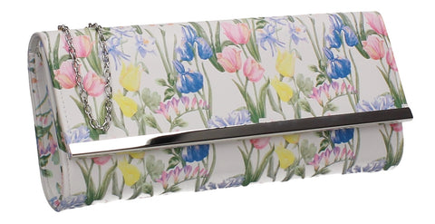 Anaya Flapover Floral Print Clutch Bag White